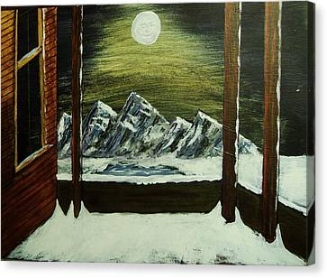 Moon Over The Mountains Canvas Print by Gordon Wendling
