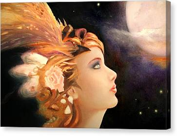 Canvas Print featuring the painting Moon Reflection by Michael Rock