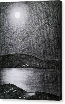 Moon Reflection On The Sea Canvas Print