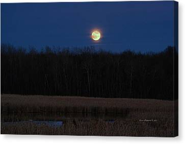 Canvas Print featuring the photograph Moon Rise 2 by Steven Clipperton