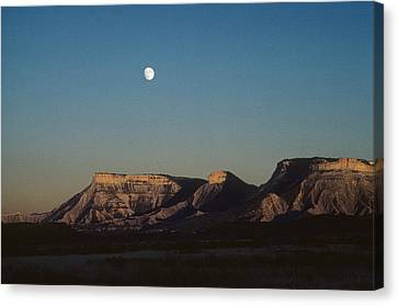 Moon Rise Over Mesa Verde Canvas Print by John Brink