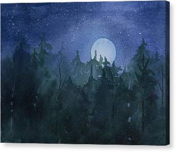 Moon Setting Over Forest Canvas Print by Debbie Homewood