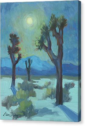 Moon Shadows At Joshua Canvas Print by Diane McClary
