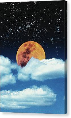 Moon With Stars In Clouds Canvas Print by David Jeffrey