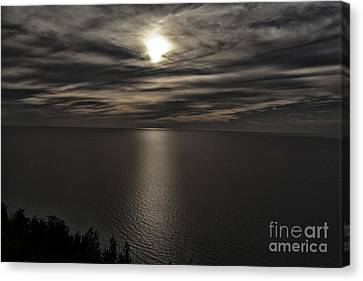 Moonglow Over Lake Michigan Canvas Print by Christopher Purcell