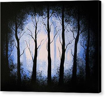 Canvas Print featuring the painting Moonlight Forest by Edwin Alverio