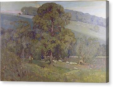 Moonlit Canvas Print - Moonlight In The Cotswolds by Sir Alfred East