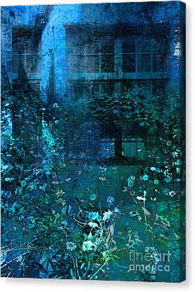 Moonlight In The Garden Canvas Print by Ann Powell