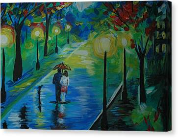 Canvas Print featuring the painting Moonlight Stroll Series 1 by Leslie Allen