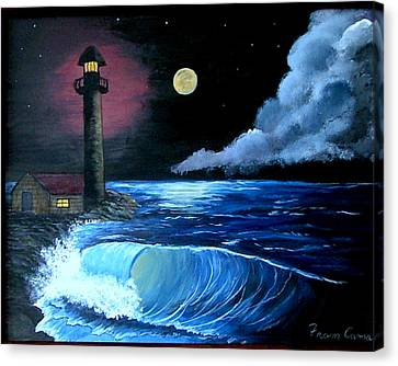 Canvas Print featuring the painting Moonlit Ocean by Fram Cama
