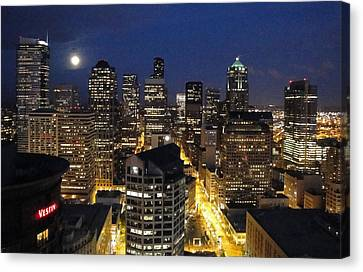 Moonlit Seattle Skyline Canvas Print