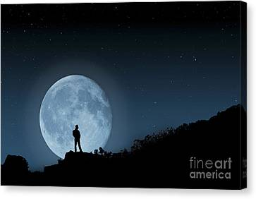 Canvas Print featuring the photograph Moonlit Solitude by Steve Purnell