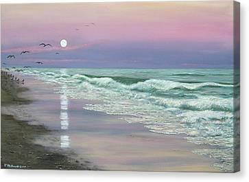 Moonrise - Golden Mile Canvas Print by Kathleen McDermott