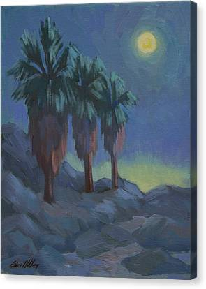 Moonlit Canvas Print - Moonrise And Three Palms by Diane McClary