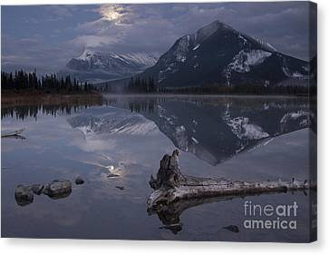 Moonrise Over Banff Canvas Print by Keith Kapple