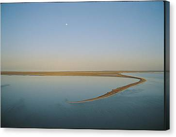 Moonrise Over Flooded Lake Canvas Print by Jason Edwards