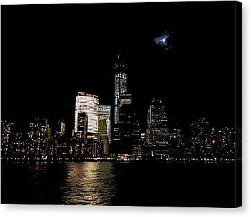 Moonrise Over Freedom Tower Canvas Print by Lewis Mengersen