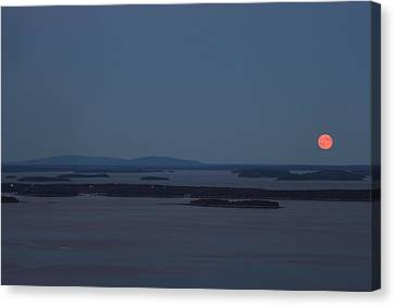 Moonrise Over Penobscot Bay And Acadia National Park From Camden Hills Canvas Print by John Burk