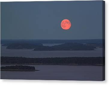 Moonrise Over Penobscot Bay From Camden Hills Canvas Print