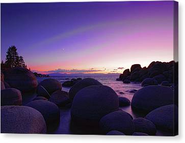 Moonrise Over Tahoe Canvas Print by Rick Berk