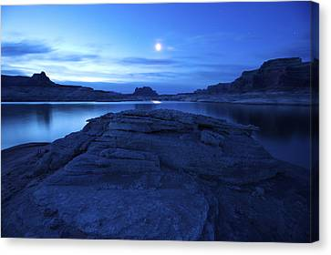 Moonrise Over West Canyon And Lake Canvas Print by Michael Melford