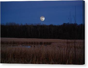 Canvas Print featuring the photograph Moonrise by Steven Clipperton
