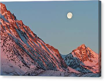 Moonset From The Buttermilks Canvas Print by Donald E. Hall