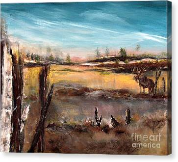 Canvas Print featuring the painting Moose Landscape by France Laliberte