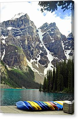 Canvas Print featuring the photograph Moraine Lake by Lisa Phillips