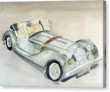 Canvas Print featuring the painting Morgan Sports Car by Eva Ason