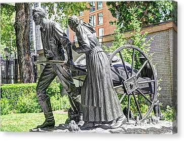 Mormon History - Hand Cart Statue Canvas Print by Gary Whitton