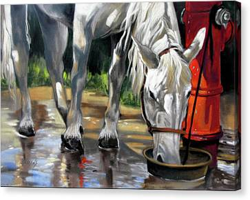 Canvas Print featuring the painting Morning Bath Now Breakfast by Rae Andrews