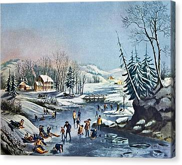 Morning By Currier And Ives Canvas Print by Susan Leggett