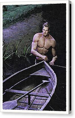 Canvas Print featuring the painting Morning Crossing by Maynard Ellis