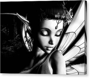 Morning Fairy Bw Canvas Print by Alexander Butler