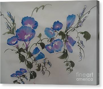 Canvas Print featuring the painting Morning Glory--2011 by Dongling Sun