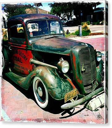 Canvas Print featuring the photograph Morning Glory Coal Truck by Nina Prommer