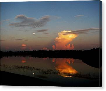 Canvas Print featuring the photograph Morning Moon by Bill Lucas
