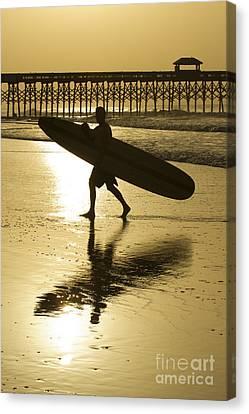 Morning Session Longboard Surfing Folly Beach Sc  Canvas Print by Dustin K Ryan