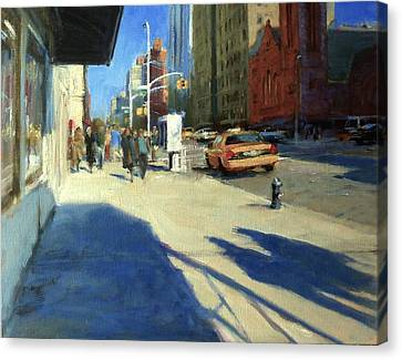 Morning Shadows On Amsterdam Avenue  Canvas Print by Peter Salwen
