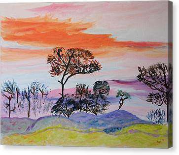 Canvas Print featuring the painting Morning Skies  by Meryl Goudey
