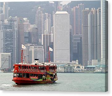 Canvas Print featuring the photograph Morning Star And Connaught Centre Hong Kong by Michael Canning