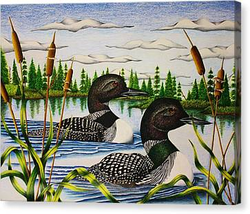 Loon Canvas Print - Morning Swim by Bruce Bley