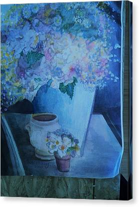 Morning Table With Bouquet And Cups Canvas Print by Anne-Elizabeth Whiteway