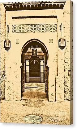Morocco Pavilion Doorway Lamps Courtyard Fountain Epcot Walt Disney World Prints Rustic Canvas Print by Shawn O'Brien