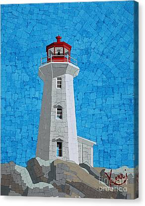 Mosaic Lighthouse Canvas Print by Kerri Ertman