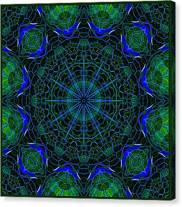 Canvas Print featuring the digital art Mosaicglobe Kaleidoscope by Barbara MacPhail