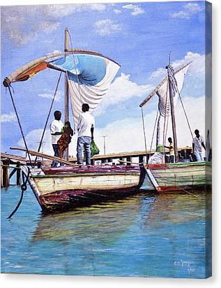 Mosambique Fishermen Canvas Print by Stuart B Yaeger
