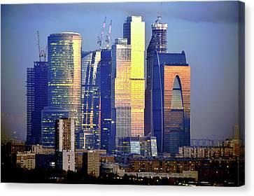 Moscow City On Sunrise Canvas Print by Vladimir Zakharov