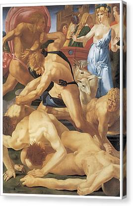 Moses And The Daughters Of Jethro Canvas Print by Rosso Fiorentino